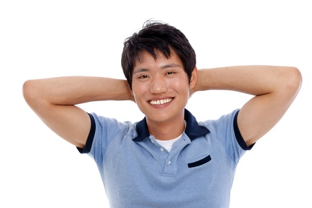 Young Asian man with smiling isolated on white background  Stock Photo - 14487781