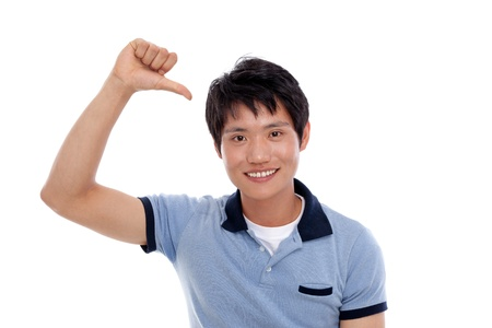 Asian young man indicate himself Stock Photo - 14487775