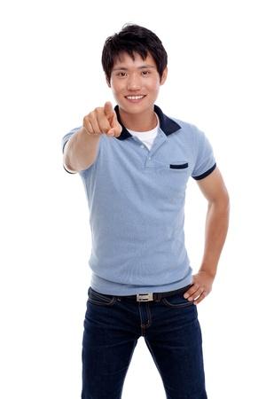 indicating: Asian young man indicate something  Stock Photo