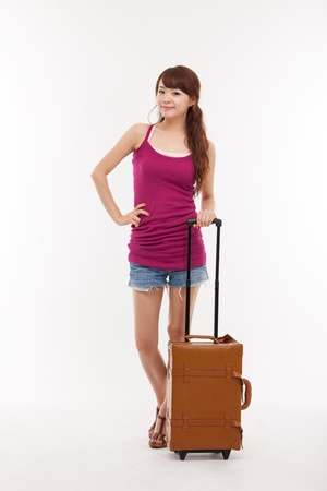 young woman walking with luggage isolated over white photo