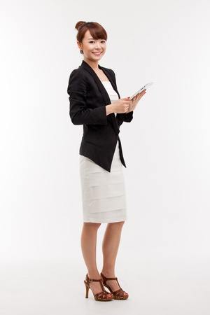 흰색 배경에 고립 된 비즈니스 여자와 주 책 스톡 콘텐츠