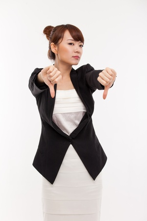 Business woman show thumb pointing down isolated Stock Photo - 14936591