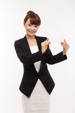 corporate women: Business woman showing blank card  isolated over white