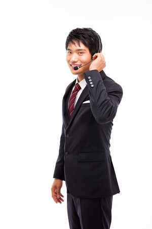 customer support operator man smiling isolated on white Stock Photo - 15040873