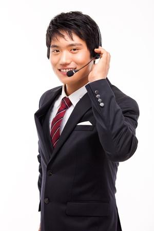 customer service representative: customer support operator man smiling isolated on white