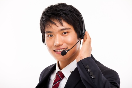 customer support operator man smiling isolated on white Stock Photo - 15040899