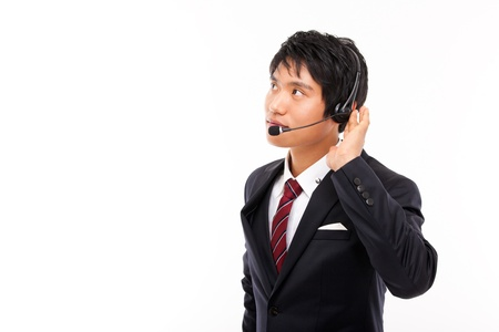 customer support operator man smiling isolated on white Stock Photo - 15040874