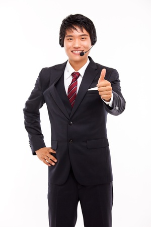 customer support operator man smiling isolated on white photo