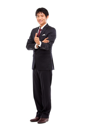 asian man face: Showing thumb young Asian business man
