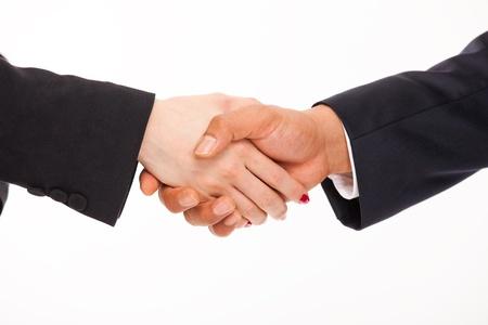 Handshake men and women  Isolated on white background