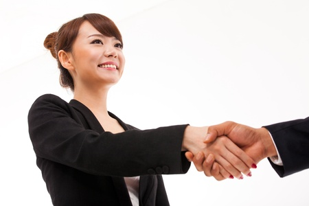 one to one meeting: Business woman shaking with someone  Stock Photo