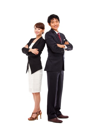 asian office lady: Business couple isolated on white background