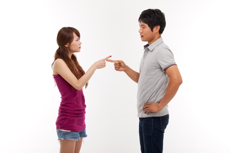 people arguing: Asian couple fight each other isolated on white background  Stock Photo