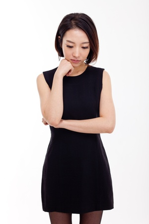 Depressed young Asian woman isolated on white background Stock Photo - 17110480