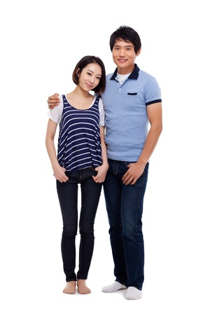 happy asian couple: Young Asian couple full shot isolated on white background  Stock Photo