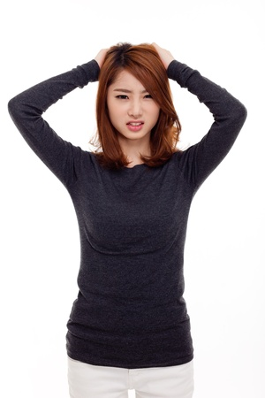 hair problem: Asian woman having stress isolated on white background