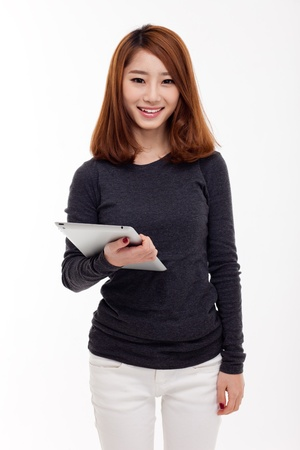 Woman holding tablet computer isolated on white background  Stock Photo