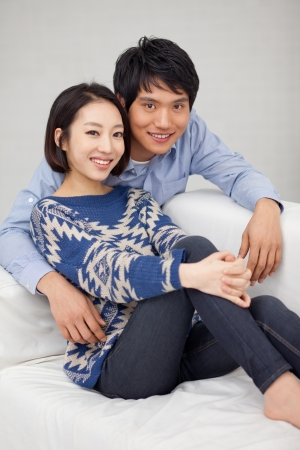 Young Asian couple in home photo