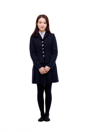 Young Asian student full shot  isolated on white background.