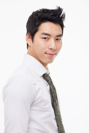 Asian young business man close up shot  isolated on white background.