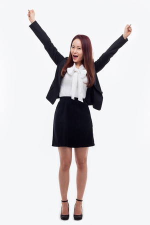 Happy business woman isolated on whitebackground.