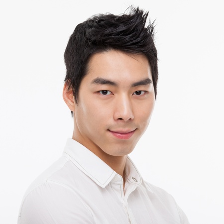 Young Asian man close up shot isolated on white  Stock Photo