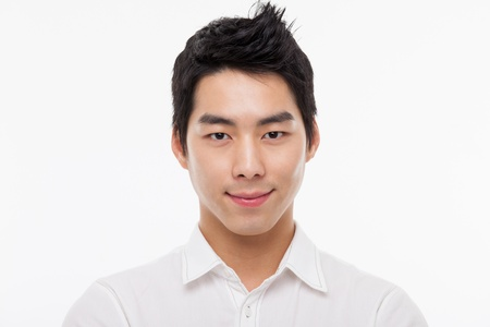 man face close up: Young Asian man close up shot isolated on white  Stock Photo
