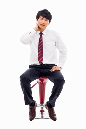 Young Asian man having a stress on isolated on white background. Stock Photo - 18730196