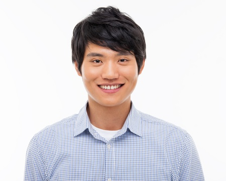 good looks: Young Asian man close up shot isolated on white  Stock Photo