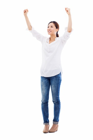 woman screaming: Happy young asian woman hands up shot isolated on white background.