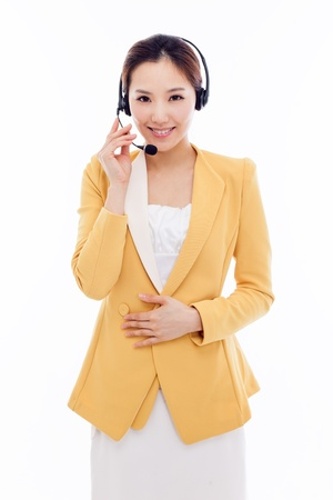Smiling call center operator business woman isolated on white background.