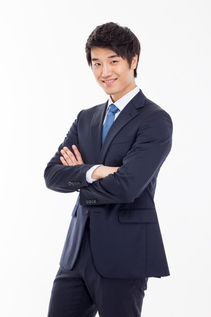 Asian young business man isolated on white background.