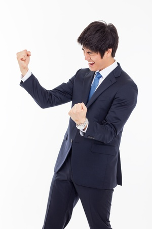 excited man: Successful business man isolated on white background.
