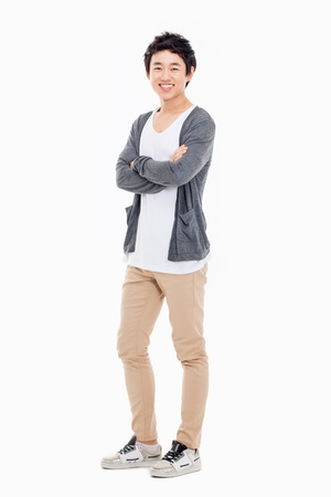 Young Asian man isolated on white background. Stockfoto