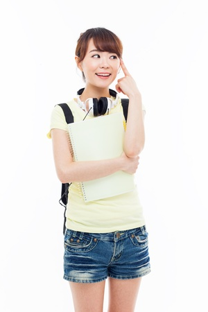 Thinking young Asian student girl isolated on white Stock Photo - 20541108