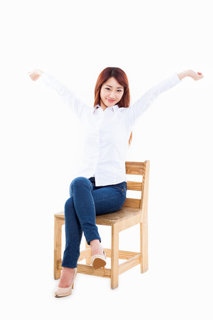 Young Asian woman stretching photo