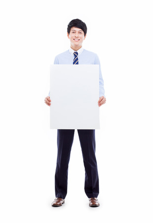 pannel: Young Asian business man holding a pannel