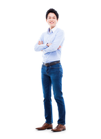 Young Asian man isolated on white background. Фото со стока