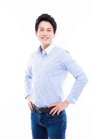 Young Asian man with smiling isolated on white background. photo