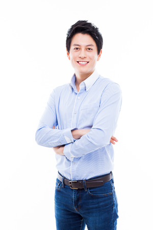 Young Asian man with smiling isolated on white background. Stock Photo
