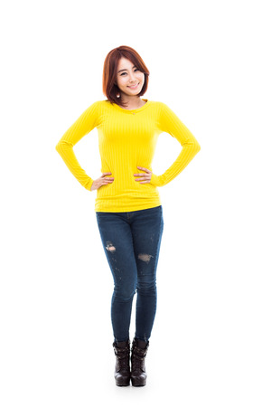 Young Asian woman full shot isolated on white background.