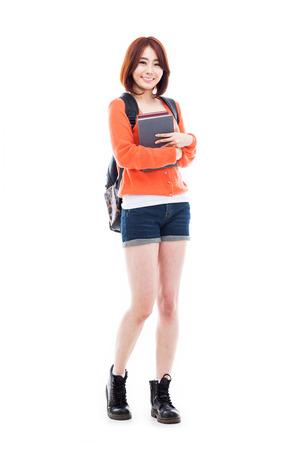 Jonge Aziatische studentenvrouw die op witte achtergrond wordt geïsoleerd. Stockfoto - 25095832