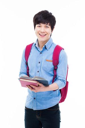 Jonge Aziatische student op wit wordt geïsoleerd Stockfoto - 25161849