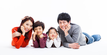 Asian happy family isolated on white background