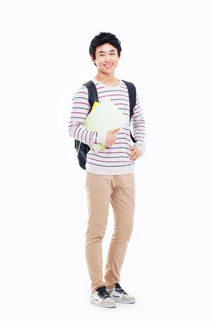 若いアジア学生白で隔離