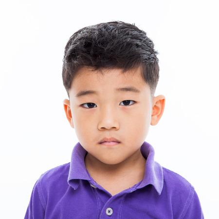 isoalated: Asian boys bright face isoalated on white.