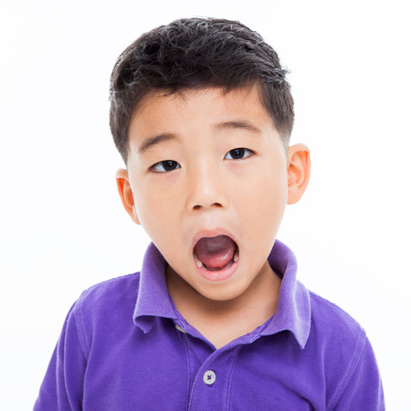 Asian boys bright face isoalated on white.