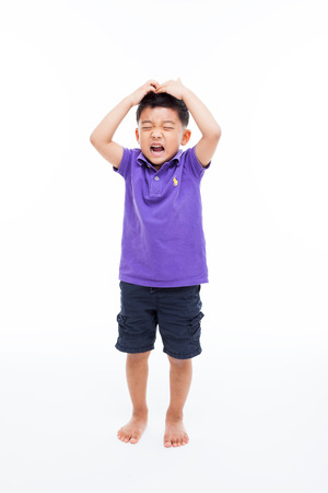 Crying Asian boy full shot  isolated on white