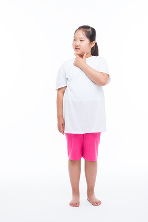 Fat kid: Thinking Asian girl isolated on white.