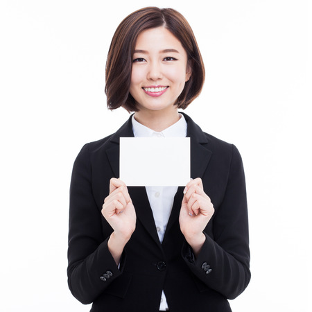 Business woman showing blank card. isolated over white Stockfoto